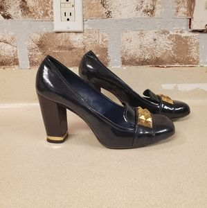 Tory Burch navy patent leather studded pumps